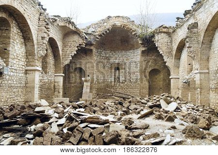 Detail of the St Nicholas Church near Mavrovo lake in Macedonia. It was built in 1853 and submerged in the lake in 1953