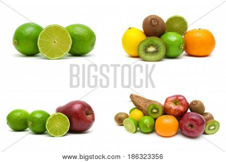 Lime and other fruits isolated on white background. Horizontal photo.