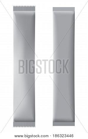 Two Full Vertical Long Silver Sachets For Design.