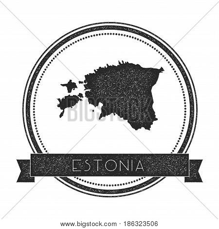 Retro Distressed Estonia Badge With Map. Hipster Round Rubber Stamp With Country Name Banner, Vector