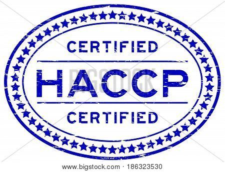 Grunge blue HACCP (Hazard analysis and critical control points) oval rubber seal stamp