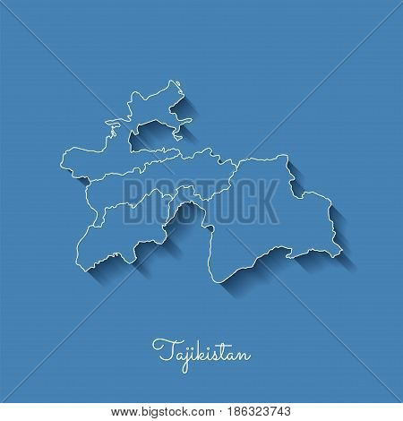 Tajikistan Region Map: Blue With White Outline And Shadow On Blue Background. Detailed Map Of Tajiki