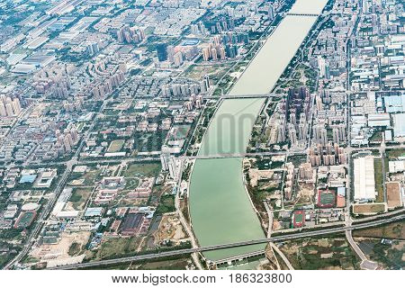 Aerial evening view of Chengdu district. China.