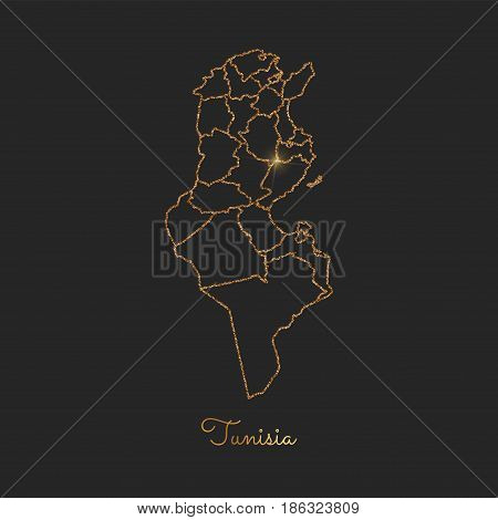 Tunisia Region Map: Golden Glitter Outline With Sparkling Stars On Dark Background. Detailed Map Of