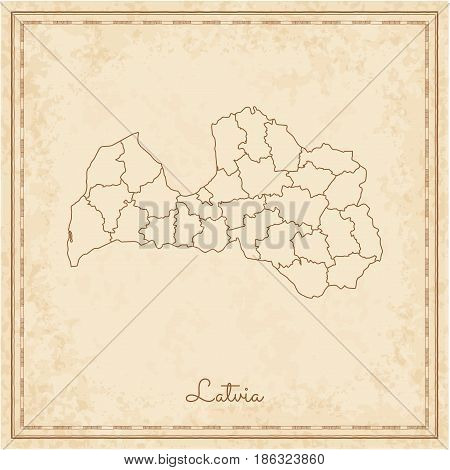 Latvia Region Map: Stilyzed Old Pirate Parchment Imitation. Detailed Map Of Latvia Regions. Vector I