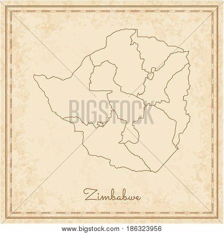 Zimbabwe Region Map: Stilyzed Old Pirate Parchment Imitation. Detailed Map Of Zimbabwe Regions. Vect