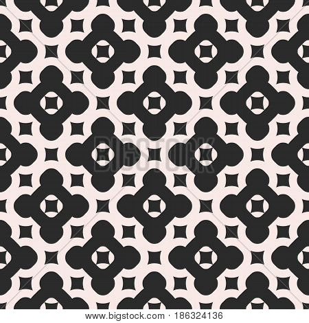 Vector monochrome seamless pattern. Abstract endless geometric texture, diagonal grid, repeat tiles. Simple minimalist symmetric background. Design element for prints, decor, furniture, fabric, cloth, ceramic