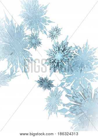 An 3D Illustration of snowflakes falling from the sky.