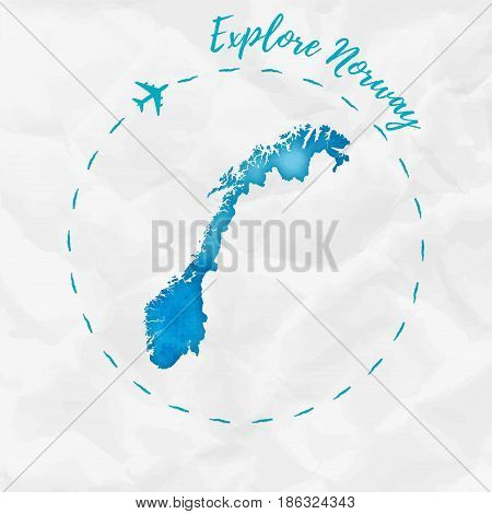 Norway Watercolor Map In Turquoise Colors. Explore Norway Poster With Airplane Trace And Handpainted