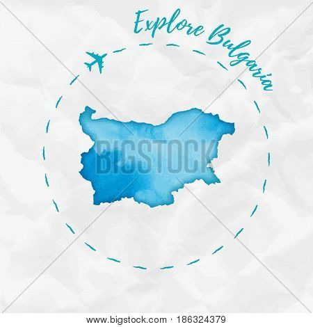 Bulgaria Watercolor Map In Turquoise Colors. Explore Bulgaria Poster With Airplane Trace And Handpai