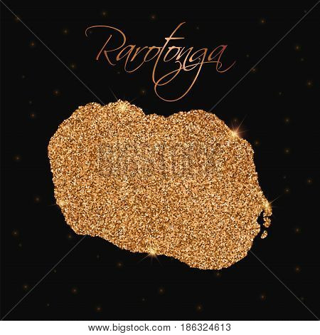 Rarotonga Map Filled With Golden Glitter. Luxurious Design Element, Vector Illustration.