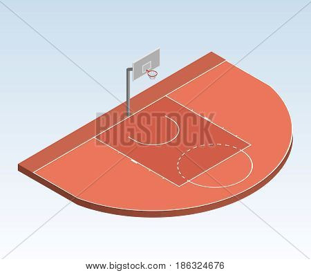 3D isometric basketball court illustration, the three-point field goal area with basket orange color. Sport theme vector illustration playground. Perspective view. Isolated editable design element