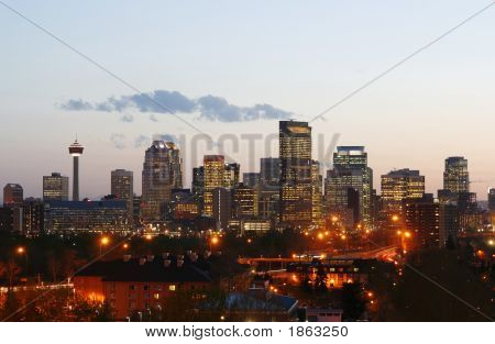 Calgary Downtown At Sunset