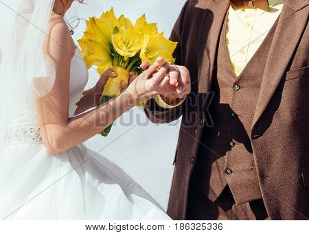 Bride Wearing Wedding Ring On The Groom's Finger. Bride And Groom Wearing Rings Each Other. Wedding