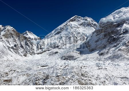 Khumbu Glacier In Everest Base Camp, Himalayas, Nepal. Beautiful Landscape Of A Snow-white Mountain