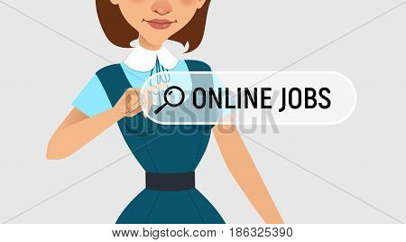 Woman is writing ONLINE JOB in search bar on virtual screen. Woman searches job. Online recruitment service. Vector illustration