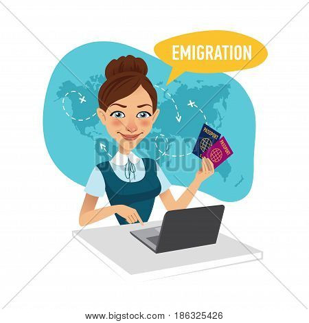 Woman sitting at table in office and working for laptop. Employee of company prepares visas for migrants. Emigration concept.