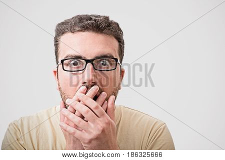 Head Of Surprised Man Portrait On  Background