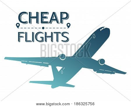Cheap flights illustration. Silhouette of flying airplane on white background. Travel offers. Vector eps 10.