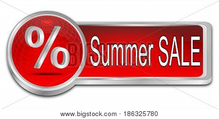 decorative red Summer Sale Button - 3D illustration