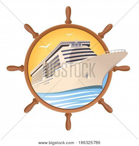 Cruise ship on the steering wheel background. Vector illustration for travel design. Eps 10.