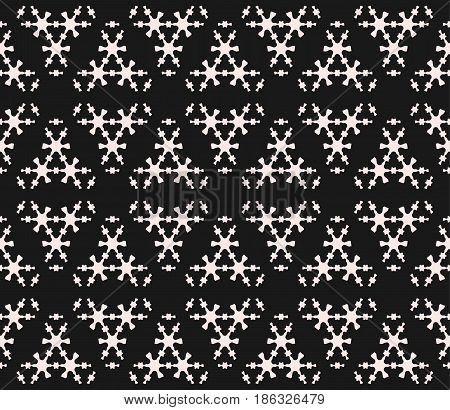 Vector monochrome seamless pattern, subtle geometric texture with thin figures, snowflakes, molecules. Abstract black & white background. Dark stylish design for decor, tileable print, textile, package, fabric, digital, web