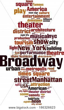 Broadway word cloud concept. Vector illustration on white