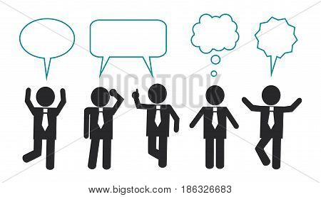 Simple schematic businessmen stand in different poses, speak and think. Over businessmen, the icons of thoughts and dialogue