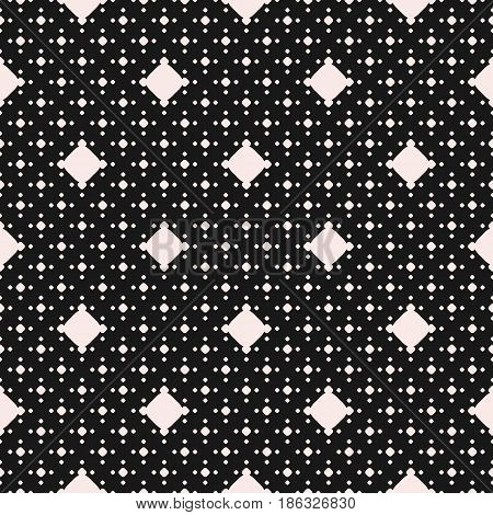Polka dot vector seamless pattern, monochrome dotted texture with different sized white circles on black background. Abstract geometric illustration, classic design. Element for prints, textile, fabric, cloth, covers, package