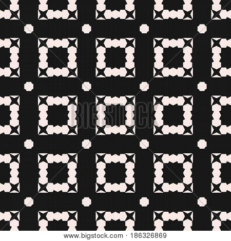 Monochrome geometric seamless pattern, vector background with angular geometric shapes, jagged figures, squares, stars, octagons. Simple dark texture for decor, prints, fabric, digital, web, package, textile, cloth