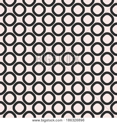 Vector seamless pattern, black & white geometric background, staggered rings & circles. Simple abstract figures, monochrome texture, repeat tiles. Design for prints, home decor, textile, furniture, fabric, covers