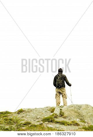 Isolated Photo Of Man At Top Of Rocky Mountain