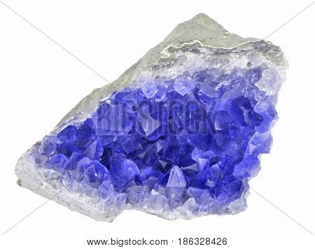 macro photo of blue sapphire druse isolated on white background poster