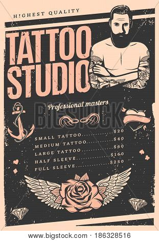 Vintage tattoo studio poster with price list professional master anchor heart rose and wings vector illustration
