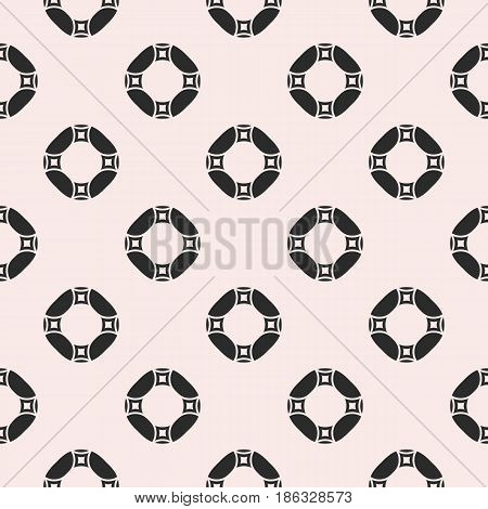 Vector monochrome repeat texture, black and white geometric seamless pattern with simple figures, circles, rings and rounded squares. Endless abstract background. Design for decor, textile, prints, fabric, cloth