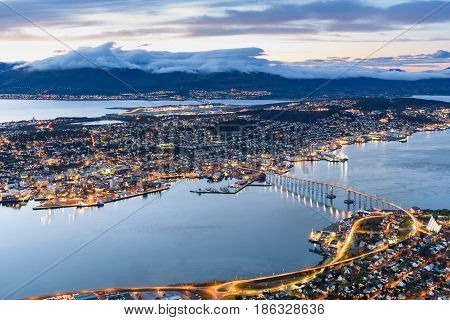 cityscape aerial view of Tromso Norway at twilight