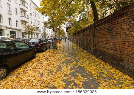 BERLIN - NOVEMBER 30 2015: Late autumn in Berlin. City view. Street strewn with yellow leaves.