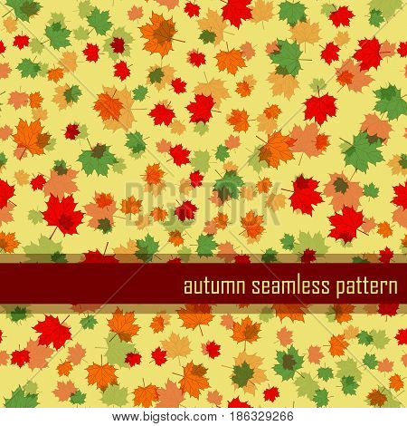 autumn seamless pattern with red, green, orange Maple Leaf. vector