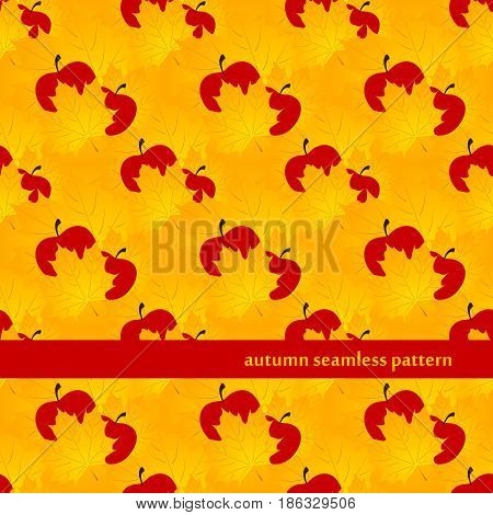 autumn seamless pattern with yellow Maple Leaf and red apples. vector