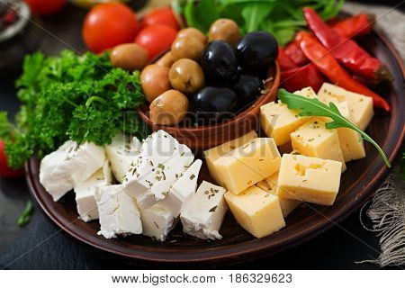 Diner Platter - Olives, Cheese And Vegetables