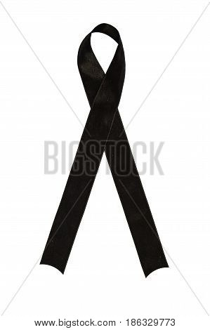 Grief and mourning sign to condemn terrorist attacks black ribbon