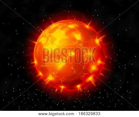 Vector red burning star before explosion on dark cosmic background