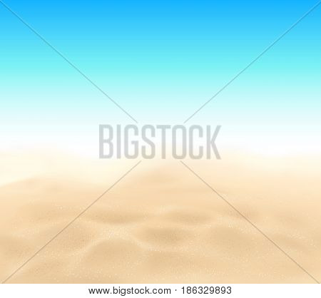 Vector beach sand texture and blue sky summer background