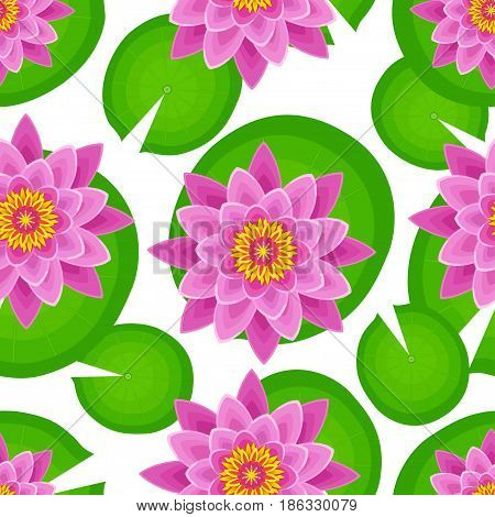 Nature seamless pattern with beautiful pink lotus and green leaves. Floral bright background with stylized waterlily flower. Trendy stylish wallpaper. Vector illustration
