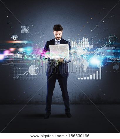 Businessman analyzes and makes projects with his laptop