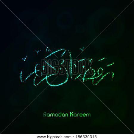 Ramadan Kareem Lights Silhouette on Dark Background. Glowing Lines and Points. Ramadan Kareem Arabic calligraphy. Celebration of Muslim community festival.