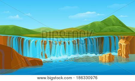 Cartoon colorful summer nature landscape template with scenic waterfall picturesque green mountains hills beautiful blue sky vector illustration