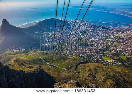The concept of active tourism and recreation. Travel to Africa. Panorama Cape Town, photographed from  cableway cabin