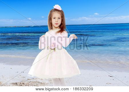 Dressy little girl long blonde hair, beautiful pink dress and a rose in her hair.She spreads her hands aside.White sand , blue sea and blue sky with clouds.