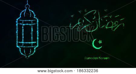 Ramadan Kareem Lights Silhouette on Dark Background. Glowing Lines and Points. Ramadan Kareem Arabic calligraphy. Celebration of Muslim community festival.